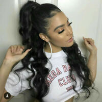 """16-24"""" Drawstring Clip in Body Wavy 100% Remy Human Hair Ponytail Extension"""