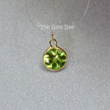 5MM 14k Solid Yellow Gold Peridot Circle Bezel Charm pendant (1)