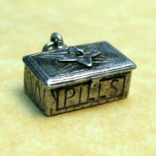 Opening Pill Box Charm Vintage English Sterling Silver