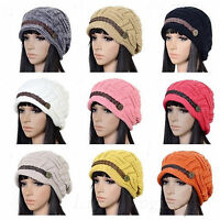 Women Ladies Braided Winter Warm Baggy Beanie Knit Oversized Crochet Ski Hat Cap