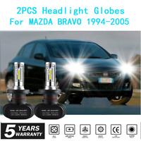 2x Headlight Globes For MAZDA BRAVO 1994-2005 High Low Beam White LED Bulb kit A