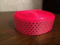 "1m Hot Pink Gold Stars Glitter Grosgrain Ribbon, 7/8"" 22mm Hair Bows Craft Cake"