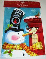 "CHRISTMAS DECORATIVE YARD FLAG 12""x 18""   SNOWMAN w/ TOPHAT / LOVE"