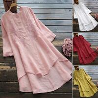 Women Long Sleeve Casual Long Shirt Dress Asymmetrical Hem Blouse Mini Dress