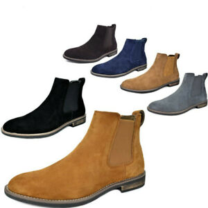 Mens Slip On Chelsea Ankle Boots Suede Leather Chukka Dress Desert Boots Allsize