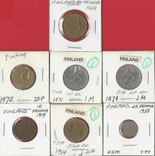 New listing Finland. Vintage Lot Of 7 Assorted Finland Coins. See Pics.