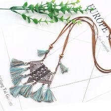 Women Long Tassel Metal Triangle Pendant Necklace Sweater Leather Boho Chain New