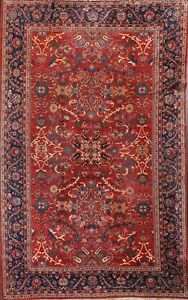 Antique Vegetable Dye Geometric Mahal Area Rug Hand-knotted Large Carpet 10'x14'