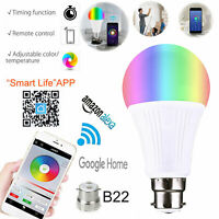 B22 Smart LED Light Bulb 9W WiFi RGB Color Changing App Control Alexa/Google UK