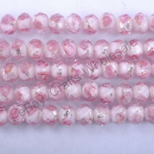 20pcs Flower Inside Faceted Rondelle Loose Lampwork Glass Spacer Beads 10X8MM