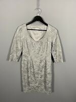 REISS Dress - Size UK12 - Silver - Floral - Great Condition - Women's
