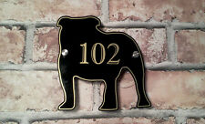 English Bulldog Dog Personalised House Sign Custom Home Door Number Plaque