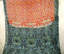 Pure silk Antique Vintage Sari HUCE LOT 4y T12 250 Rust Black DECOR #ABDDC