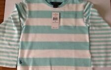 Ralph Lauren Girls Long Sleeve T Shirt Turquoise/White Stripe Size 6 Years