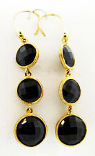 tem #1457 Thai Black Spinel (Rnd) Earrings in 14K YG Overlay Sterling Silver TGW