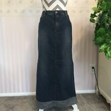 Womens Union Bay 116 Denim Skirt Long Modest Modesty Blue Side Slits Size 13