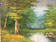 Vintage Original Oil Painting Landscape Stream Woods Artist Signed