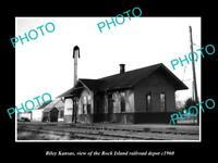 OLD LARGE HISTORIC PHOTO OF RILEY KANSAS ROCK ISLAND RAILROAD DEPOT c1960