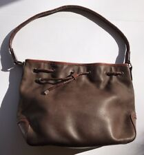 Brown Leather Purse Fossil Two-Tone Drawstring Bucket Bag Hobo Shoulder Western