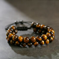 8MM Tiger Eye Natural Stone Beads Bracelet Double Row Men's Fashion Bracelets