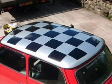 Classic Mini Cooper Large Chequered Roof Decal Graphics Sticker (Black squares)