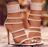 Runway Fashion Womens High Stiletto Heels Sandals Rhinestone Party Sexy Shoes Sz