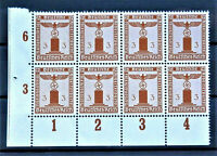 W.W.2 ORIGINAL GERMAN BLOCK OF 8 OFFICIAL STAMPS WITH MARG.3 MNH
