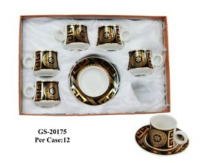 Luxury  Set turkish-arabic Gold Greek & Black Coffee Set cup & saucer porcelain