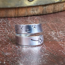 """make a wish ring dandelion with fluff 1/4"""" Wide Double Wrap Smooth, Organic Text"""