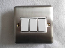 3 Gang 2 Way OR 1 Way Switch In Satin Chrome Finish STANDARD TRIPPLE SWITCH