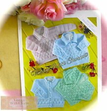 Vintage Knitting Pattern Babys 3 Styles Of Cardigan & A Jumper £2.39 & NO UK P&P