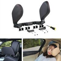Car Kopfstütze Kopf Nackenstützkissen Faltbare Schwarz PU-Leder für den Schlaf