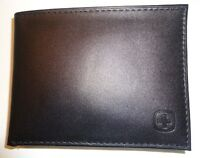 Swiss Army Infantry Genuine Leather ID Bifold Wallet, Black