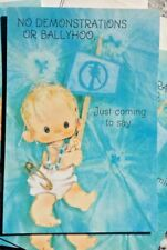 Vintage 70's Boy Birth Announcement Greeting Cards Baby Demonstrations Marching