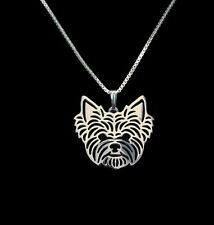Yorkshire Terrier Yorkie Dog Pendant Necklace Silver Tone Animal Rescue Donation