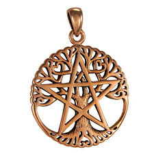 Pentacle Tree of Life Copper Cut Large Pendant - Wicca Witch Pagan Jewelry