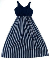 LOFT Womens Empire Dress Blue White Striped V-Neck Knee Length Size Petite XS