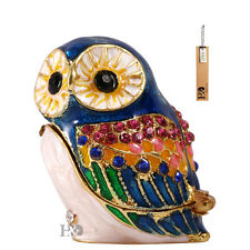 Handmade Owl Jewellery Enamel Crystal Metal Trinket Boxes Figurine Collect Gifts