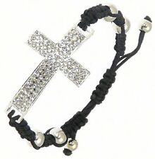 Crystal Effect Metal Cross / Crucifix Black Cord Wristband Bracelet Adjustable