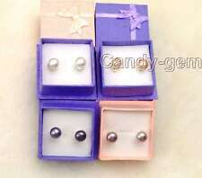 wholesale 4 pairs different color 7-8mm natural pearl earring & silver s925 stud