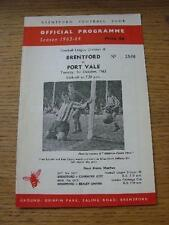 01/10/1963 Brentford v Port Vale  (Team Changes). Item In very good condition un