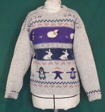 Vintage Woolrich Gray Wool Novelty Folk Art Pullover Sweater L