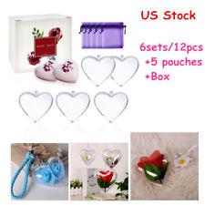 10pcs/5 Sets Clear Plastic Heart Bath Bomb Molds + Box +5 Bags