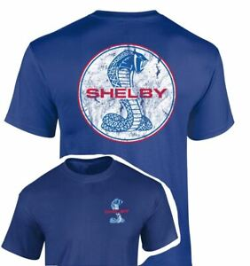 Shelby Mustang Snake Distressed Logo T-Shirt in Blue. We Ship This WORLDWIDE!