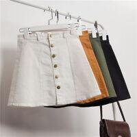 UK Women A-line Jeans Front Button High Waist Denim Dress Slim Casual Skirt S-L
