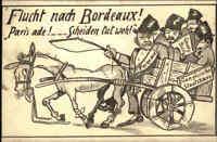 "Feldpostkarte 1917 Soldaten Humor-AK ""Flucht nach Bordeaux - Paris ade! Selten!"