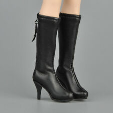"1/6 Scale Female Mid-calf Knee High Boots Black For 12"" Female Figure"