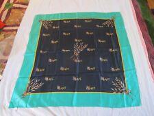 100% Silk Green & Navy Blue Scarf