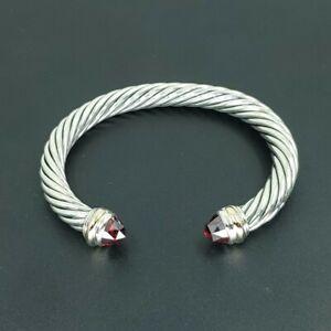 DAVID YURMAN Cable Classic Bracelet with Garnet & 14K Gold 7mm Small