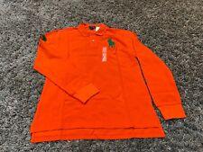 Polo Ralph Lauren long sleeve big pony 3 patch rugby shirt orange green XL 18 20